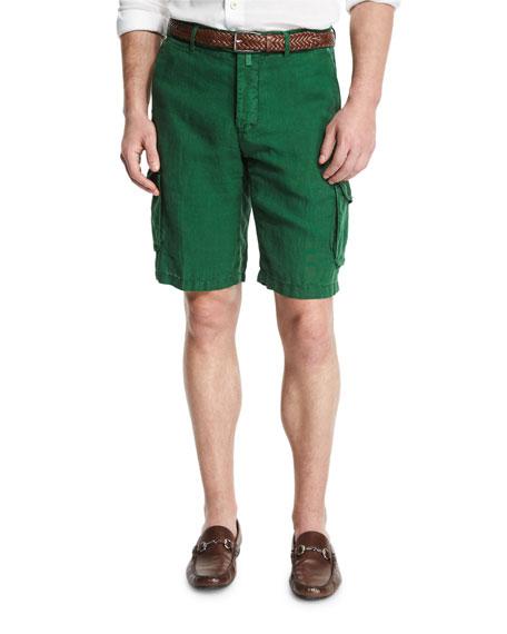 Kiton Linen Cargo Shorts, Green