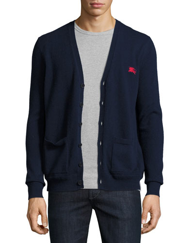 Hedworth V-Neck Cashmere Cardigan, Navy