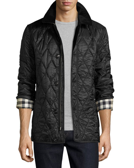 Burberry Corduroy-Collar Quilted Jacket, Black : quilted jackets mens - Adamdwight.com