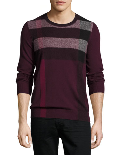 Feldon Graphic Check Cashmere-Cotton Sweater, Burgundy Red