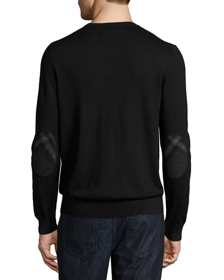 Richmond Check-Patch Cashmere-Blend Sweater, Black