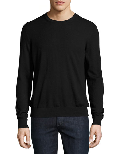 Richmond Check-Patch Cashmere-Blend Sweater, Black