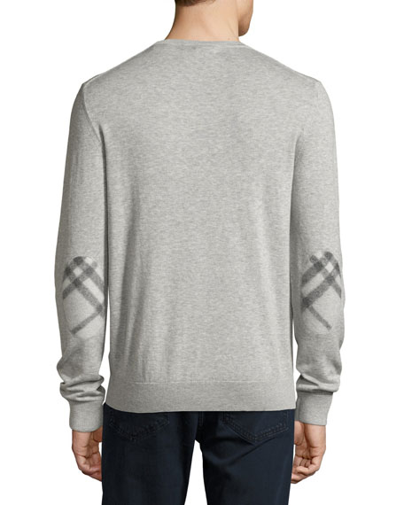 Richmond Check-Patch Cashmere-Blend Sweater, Pale Gray Melange