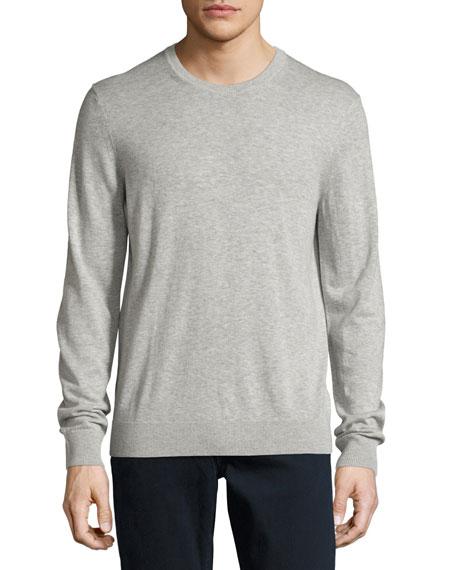 Burberry Richmond Check-Patch Cashmere-Blend Sweater, Pale Gray Melange
