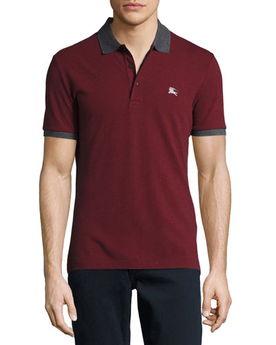 Contrast-Trim Piqué Polo Shirt, Parade Red Melange