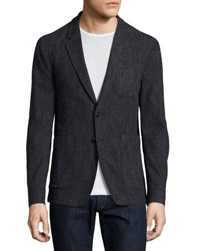 Donegal Soft Cotton-Silk Blazer, Charcoal Blue