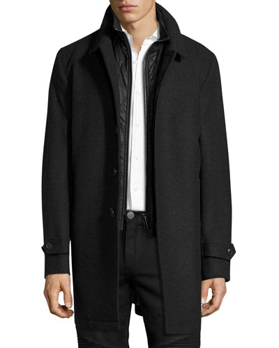 Marcham Single-Breasted Coat w/Warmer, Dark Charcoal Melange