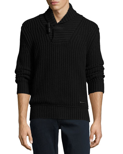 Douglas Toggle Pullover Sweater, Black