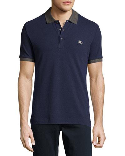 Contrast-Trim Piqué Polo Shirt, Navy Melange