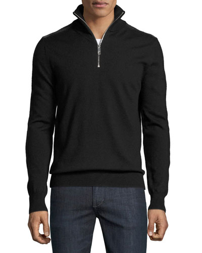 Merino Wool 1/2-Zip Sweater w/Check Shoulders, Black