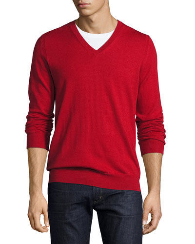 Dockley Wool V-Neck Sweater, Military Red
