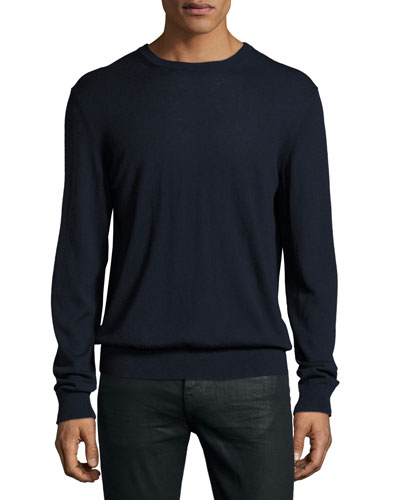 Richmond Check-Patch Cashmere-Blend Sweater, Navy
