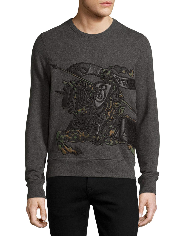 88971a81057a Burberry Camo   Leather Equestrian Knight Sweatshirt