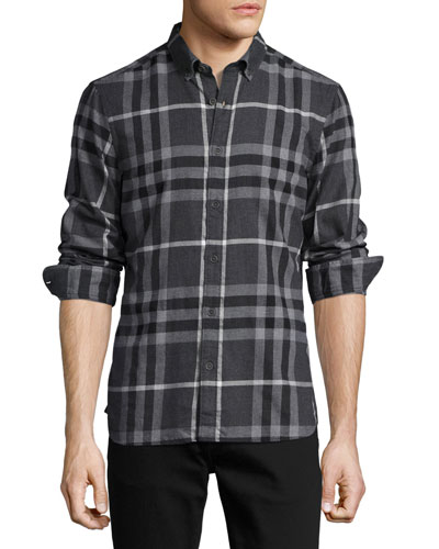 Check Cotton Flannel Shirt, Dark Gray Melange