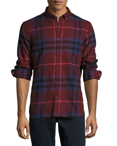 Check Cotton Flannel Shirt, Dark Elderberry