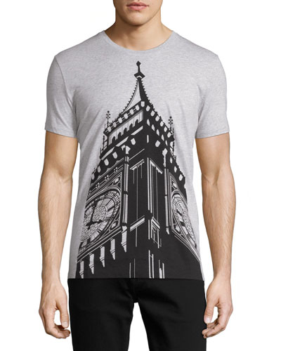 Kelmsley Big Ben Graphic T-Shirt, Pale Gray Melange
