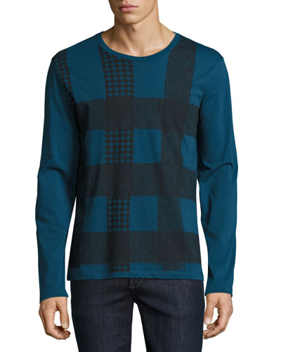Ashby Check Graphic Long-Sleeve T-Shirt, Mineral Blue