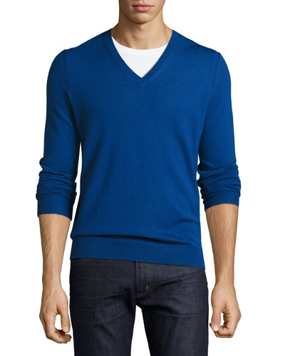 Dockley Wool V-Neck Sweater, Bright Cobalt