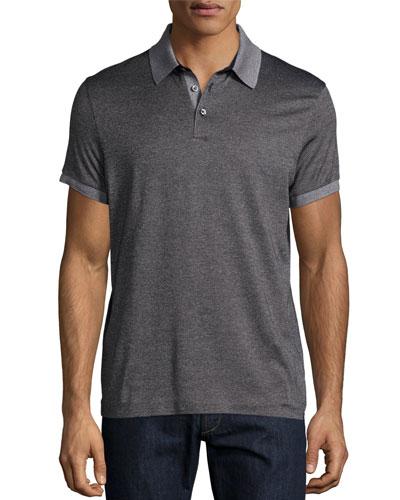 Short-Sleeve Contrast-Trim Pique Polo Shirt, Charcoal