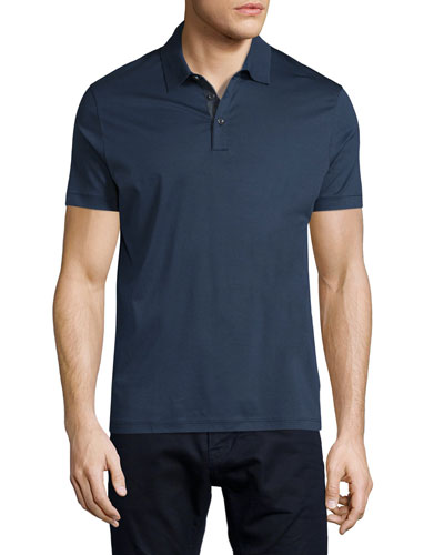 Knit Polo Shirt w/Contrast Placket, Navy