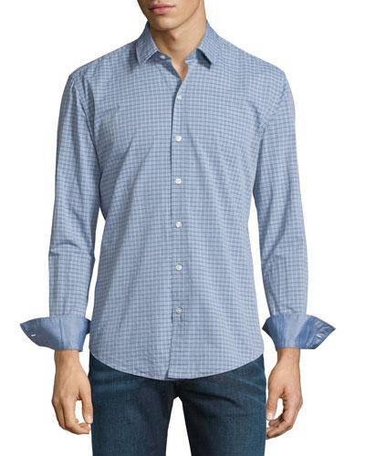 Dobby-Plaid Long-Sleeve Sport Shirt, Navy