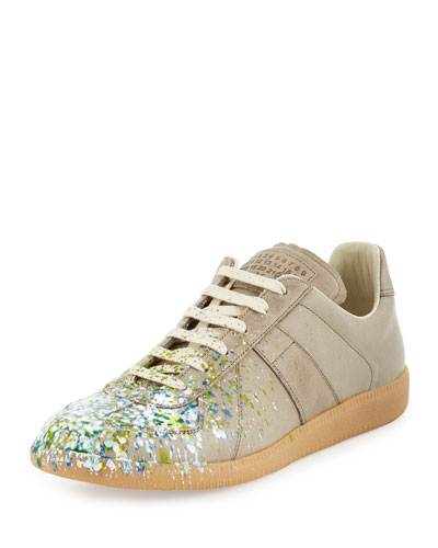 Replica Paint-Splatter Low-Top Sneaker, Khaki