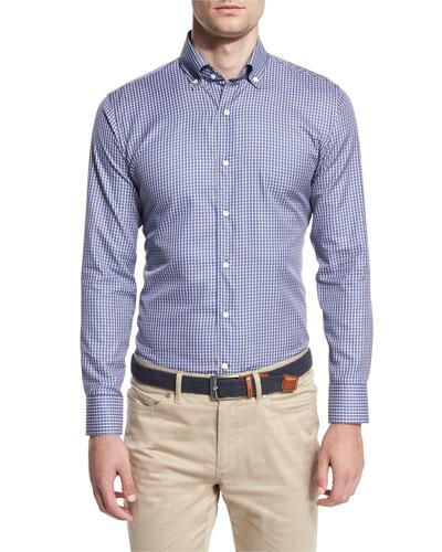 Veneto Check Sport Shirt, Cobalto