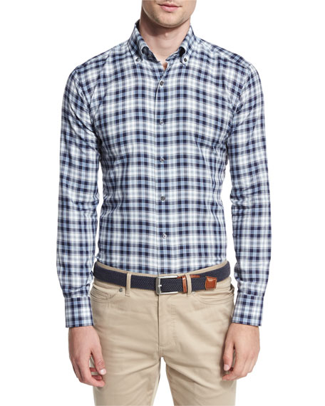 Glacier Check Sport Shirt, Barchetta Blue