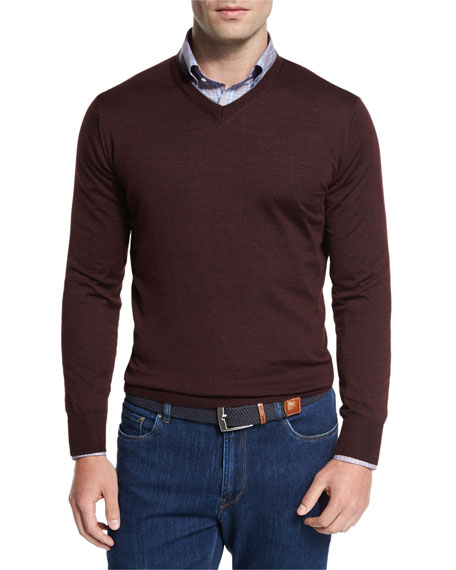 Peter Millar Collection Merino-Silk V-Neck Sweater, Barolo