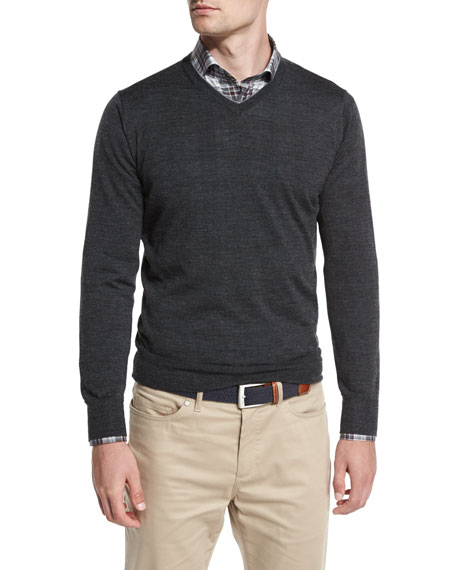 Peter Millar Collection Merino-Silk V-Neck Sweater, Iron Melange