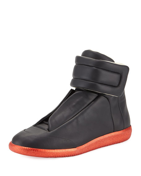 Maison Margiela Men's Future High-Top Sneakers, Black/Red