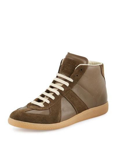 Replica Mid-Top Leather Sneaker, Brown