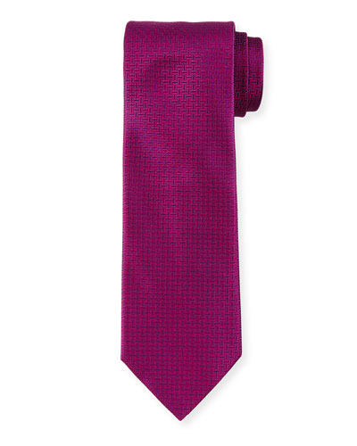 Solid Geo-Print Silk Tie, Purple