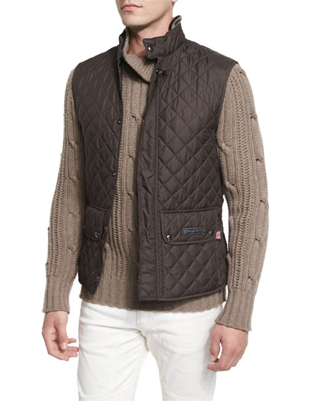 BelstaffLightweight Quilted Tech Vest, Mahogany