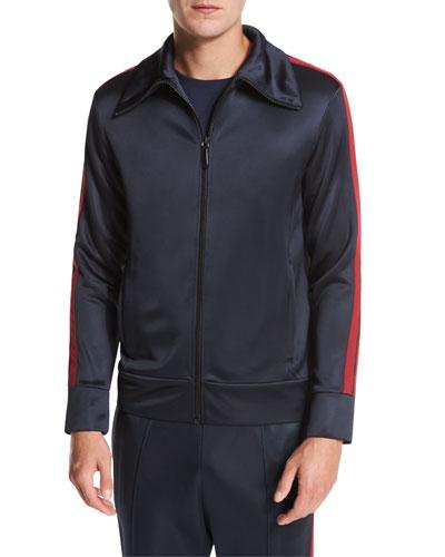 Striped Jersey Track Jacket, Navy