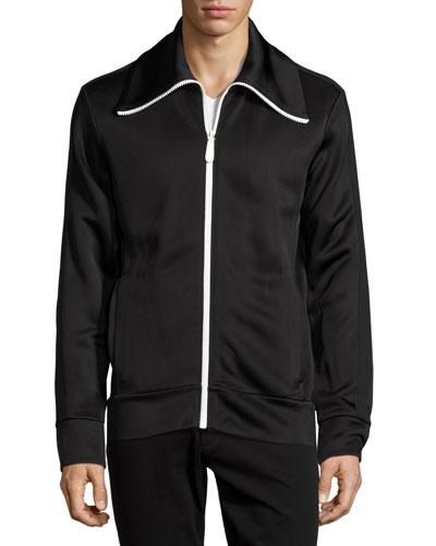 Funnel-Neck Jersey Track Jacket, Black