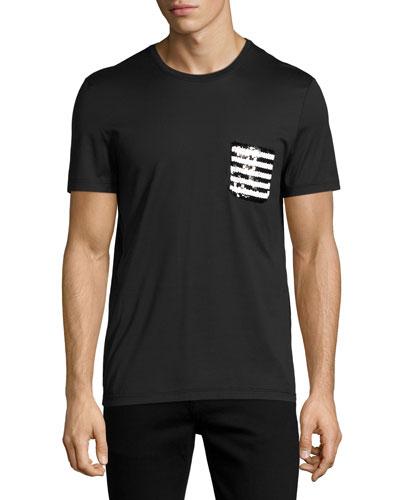 Sequined-Pocket T-Shirt, Black