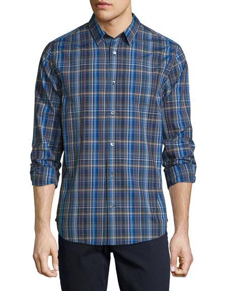 Vince Melrose Plaid Sport Shirt, Blue Multi