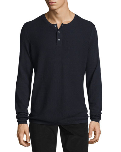 Jersey Mix-Stitch Long-Sleeve Henley T-Shirt, Coastal