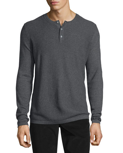 Jersey Mix-Stitch Long-Sleeve Henley T-Shirt, Heather Carbon