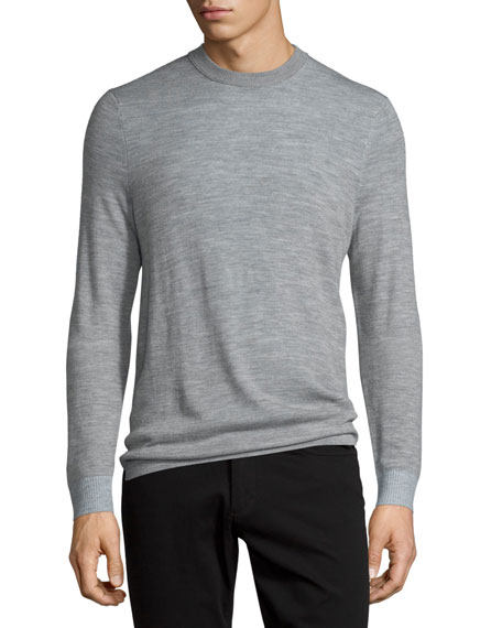 Vince Double-Layer Crewneck Sweater, Heather Steel
