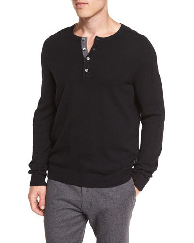 Cashmere Long-Sleeve Henley Sweater, Black