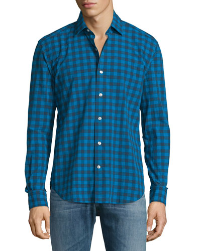 Buffalo-Check Long-Sleeve Sport Shirt, Blue