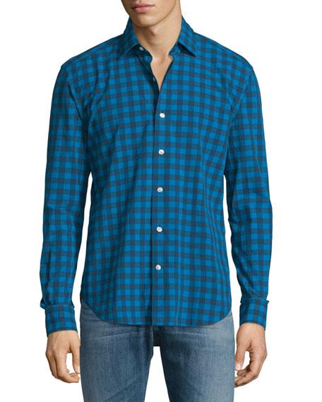 Culturata Buffalo-Check Long-Sleeve Sport Shirt, Blue