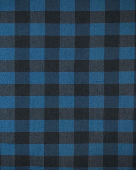 Buffalo-Check Long-Sleeve Sport Shirt, Blue