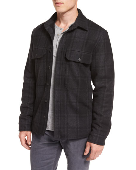 Vince Plaid Wool-Blend Military Shirt Jacket, Black/Gray