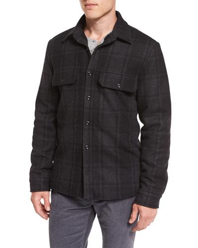 Plaid Wool-Blend Military Shirt Jacket, Black/Gray