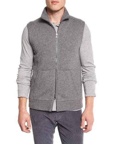 Wool/Cashmere Zip-Up Vest, Heather Cinder