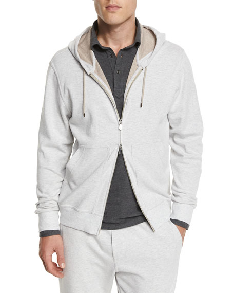 Brunello Cucinelli Zip-Up Spa Hoodie, Fog