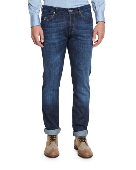 Brunello Cucinelli Slim-Fit Denim Jeans, Dark Blue